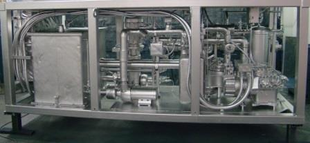 Internal components of marine duty chiller mounted on ship deck