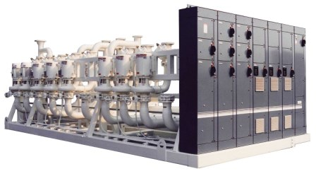 Closed Loop Pumping Skid with multiple pumps and control panel array.