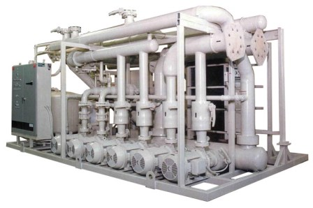 Industrial process pump skid with plate heat exchanger, particle filtration and system controls.