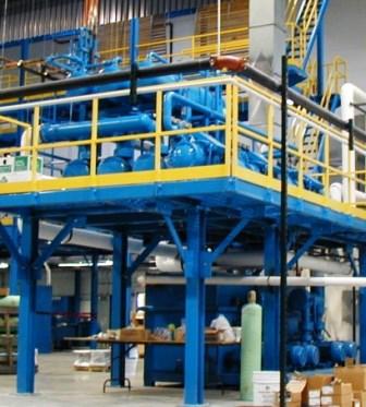 Compressor system on custom mezzanine in operation.
