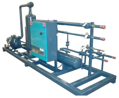Indoor skid mounted remote heat recovery unit