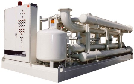 Pump Skid for cooling tower with control panel and particle filtration.