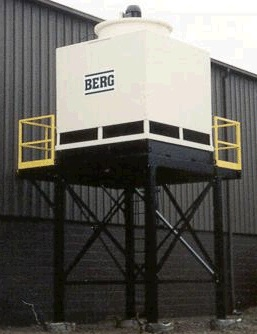 Industrial process cooling tower on mezzanine with two sided walkway.