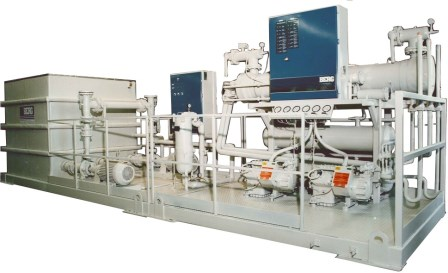 Indoor Air Cooled Refrigeration System with pumps for heat recovery