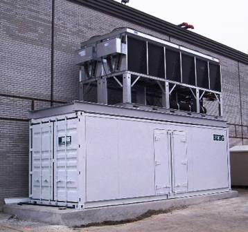 Low Temperature Containerized Refrigeration Plant with upper level condenser on a concrete pad.