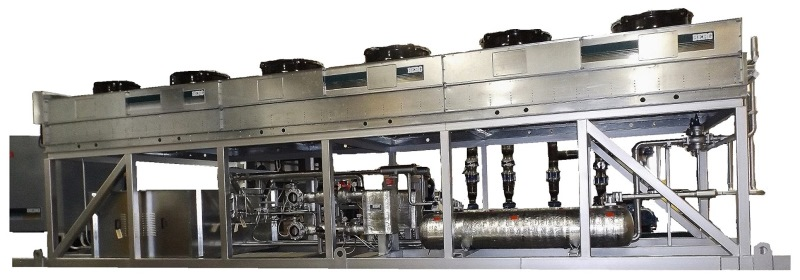 ... Side View Of Outdoor Recreational Ice Rink Chiller System.