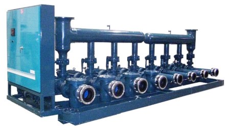 Large Industrial Pump Skid with eight pumps.