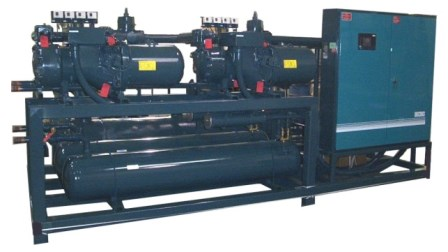 Remote skid mounted air cooled package with multiple compressors and control panel.