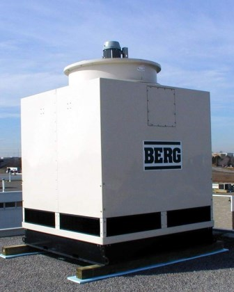 Fibreglass Cooling Tower in place on roof.
