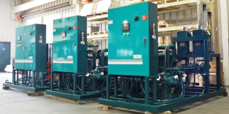 Bank of skid mounted water cooled chillers with independent controls
