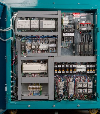 Inside View of a Control Panel for an Air Cooled Portable Chiller