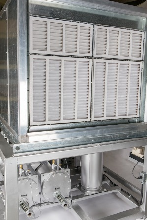 Inlet air filters in position on Berg's industrial dehumidifier
