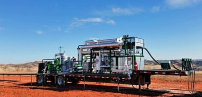 Portable, trailer mounted flare gas conditioning system including Berg's custom engineered industrial chiller.