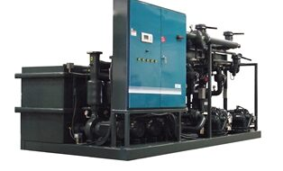 Skid mounted water cooled hybrid chiller (remote fluid cooler not shown)